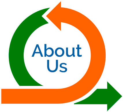 about us text in logo